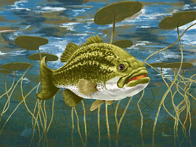 Fresh Water Digital Art - Lurking Lunker by Kevin Putman