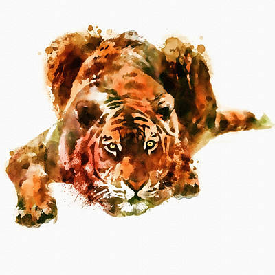 Big Square Format Mixed Media - Lurking Tiger by Marian Voicu