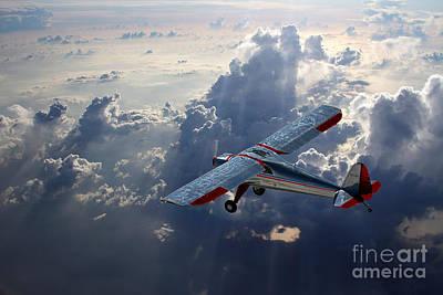 Monoplane Digital Art - Luscombe Flight by J Biggadike