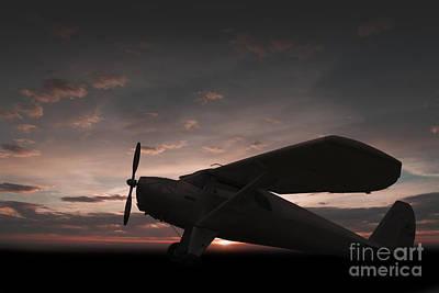 Monoplane Digital Art - Luscombe Sunset by J Biggadike