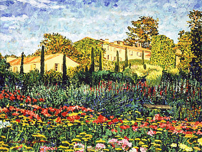 Lush Gardens In Provence Art Print by David Lloyd Glover