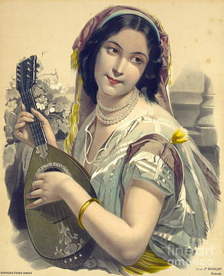 Gold Bracelet Photograph - Lute Player 1850 by Padre Art
