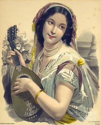 Lute Player 1850 Art Print