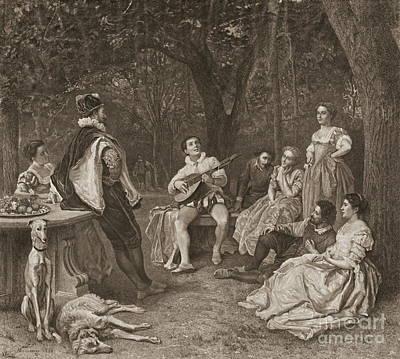 Lute Player 1858 Art Print