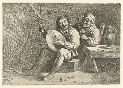 Lute Drawing - Lute Player And Old Woman, David Teniers II Possibly by David Teniers Ii And Cornelis Pietersz. Bega