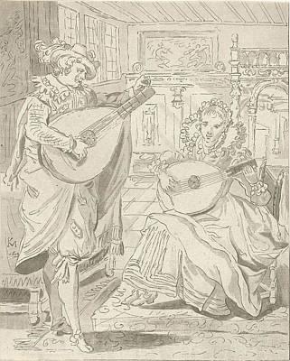 Lute Playing Lord And Lady, Cornelis Ploos Van Amstel Art Print by Quint Lox
