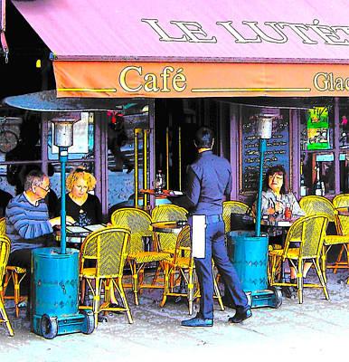 Waiter Digital Art - Cafe Lutetia Ile Saint Louis Paris by Jan Matson