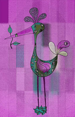 Violet Drawing - Lutgarde's Bird - 061109106-purple by Variance Collections