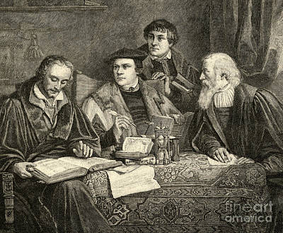 Theology Drawing - Luther Melancthon Pomeranus And Cruciger Translating  by English School