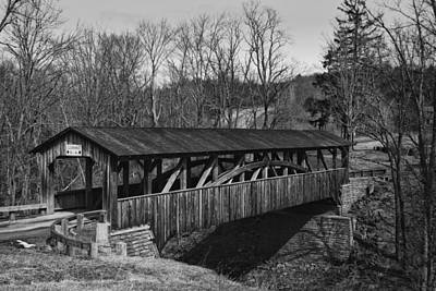 Luther's Mill Covered Bridge Black And White Art Print