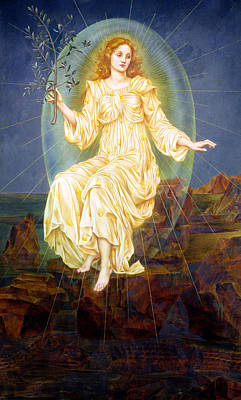 Olive Painting - Lux In Tenebris by Evelyn De Morgan