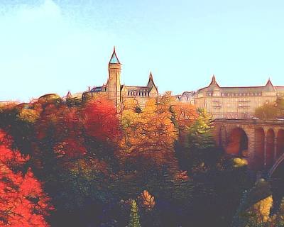 Digital Art - Luxembourg City Skyline by Dennis Lundell