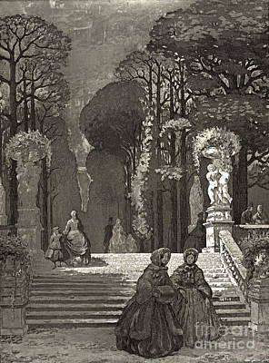 Art Lithographs Photograph - Luxembourg Gardens 1850 by Padre Art