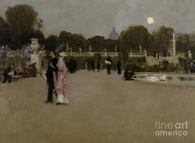 Women Together Painting - Luxembourg Gardens At Twilight by John Singer Sargent