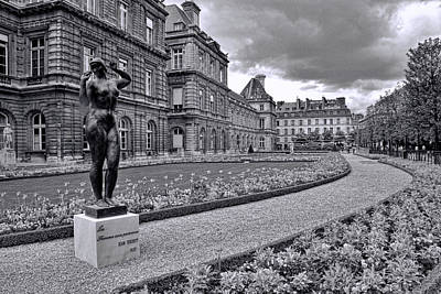 Photograph - Luxembourg Gardens Black And White by Allen Beatty