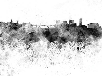 Luxembourg Painting - Luxembourg Skyline In Black Watercolor On White Background by Pablo Romero