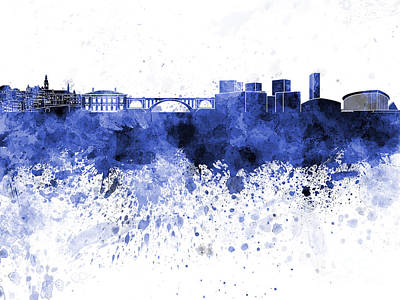 Luxembourg Painting - Luxembourg Skyline In Blue Watercolor On White Background by Pablo Romero