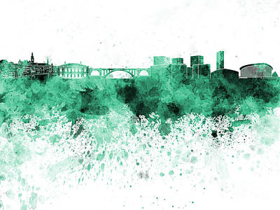 Luxembourg Painting - Luxembourg Skyline In Green Watercolor On White Background by Pablo Romero