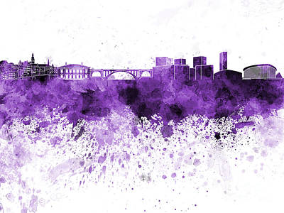 Luxembourg Painting - Luxembourg Skyline In Purple Watercolor On White Background by Pablo Romero