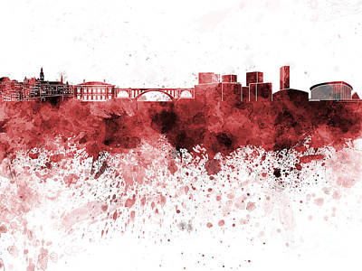 Luxembourg Painting - Luxembourg Skyline In Red Watercolor On White Background by Pablo Romero