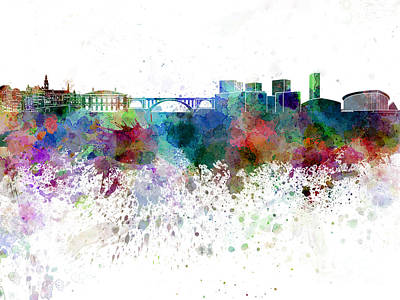 Luxembourg Painting - Luxembourg Skyline In Watercolor On White Background by Pablo Romero