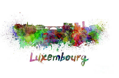 Luxembourg Painting - Luxembourg Skyline In Watercolor by Pablo Romero