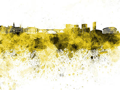 Luxembourg Painting - Luxembourg Skyline In Yellow Watercolor On White Background by Pablo Romero