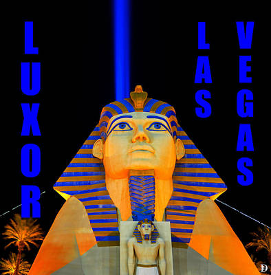 Photograph - Luxor Casino Las Vegas Work Blue Text by David Lee Thompson