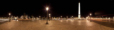 Luxor Obelisk At Night, Place De La Art Print by Panoramic Images