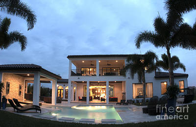 Luxury Home With Pool Art Print by Bill Bachmann