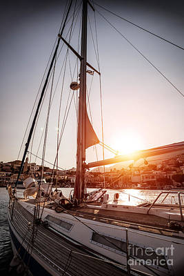 Symi Photograph - Luxury Sailboat In Sunset by Anna Om