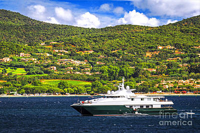 Luxury Yacht At The Coast Of French Riviera Art Print by Elena Elisseeva