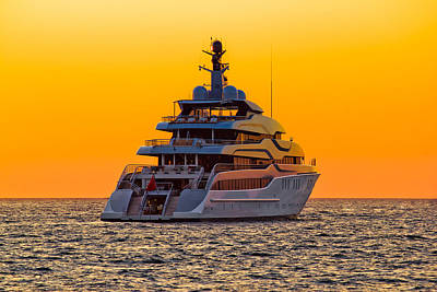 Photograph - Luxury Yacht On Open Sea At Sunset by Brch Photography