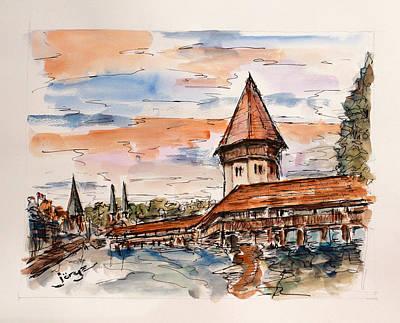 Covered Bridge Painting - Luzern Chapel Bridge by Jorge Garza