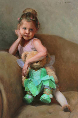 Lydia And Tinker Bear Art Print by Anna Rose Bain