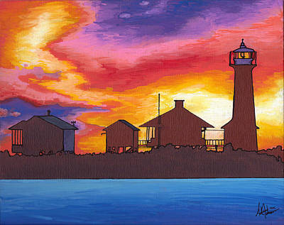 Painting - Lydia Anne Lighthouse At Sunset by Adam Johnson