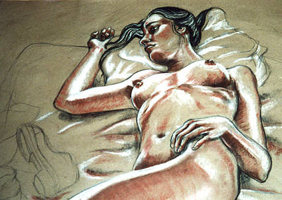 Brunette Drawing - Lying In Wait by John Ashton Golden