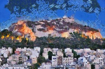 Hill Painting - Lycabettus Hill During Dusk Time by George Atsametakis