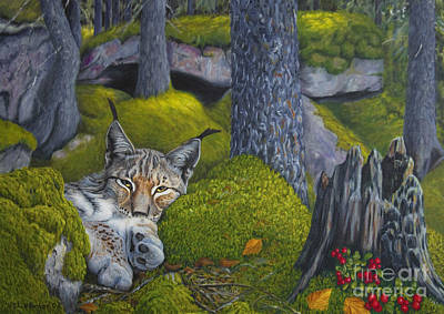 Bobcat Painting - Lynx In The Sun by Veikko Suikkanen