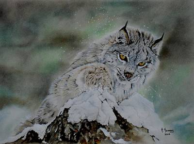 Lynx Playing With Snow Art Print by Hendrik Hermans