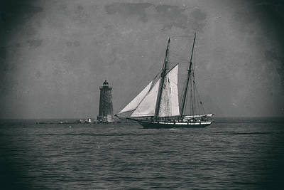Digital Art - Lynx Sailing Past Whaleback Lighthouse by Jeff Folger