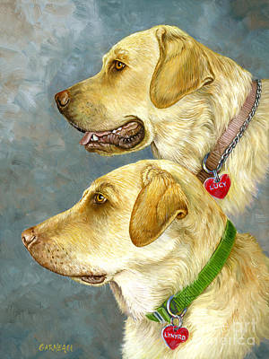 Golden Lab Painting - Lynyrd And Lucy by Catherine Garneau