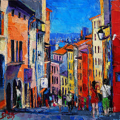 Purple Painting - Lyon Colorful Cityscape by Mona Edulesco