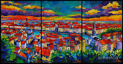 Purple Painting - Lyon Panorama Triptych by Mona Edulesco