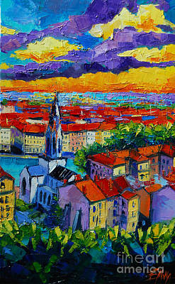 Streets Of France Painting - Lyon View 3 by Mona Edulesco