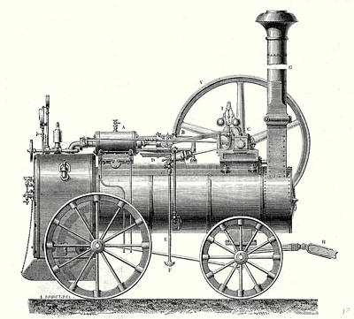 M. Callas Traction Engine Art Print by English School