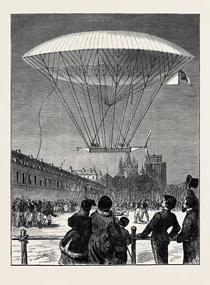 Vincennes Drawing - M. Dupuy De Lmes New Navigating Balloon The Ascent At Fort by English School