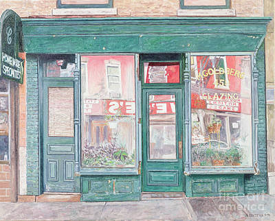 Brooklyn Storefronts Painting - M Goldberg Glazing Court St Brooklyn New York by Anthony Butera