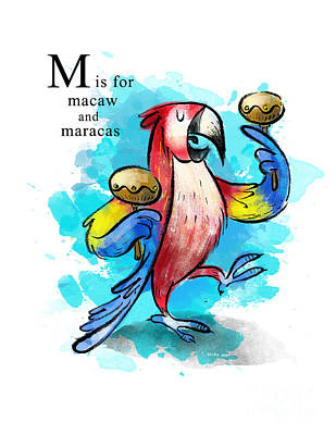 Macaw Art Painting - M Is For Macaw by Sean Hagan