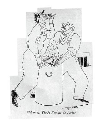 Pecking Drawing - M-m-m, Ybry's Femme De Paris by Augustus Peck